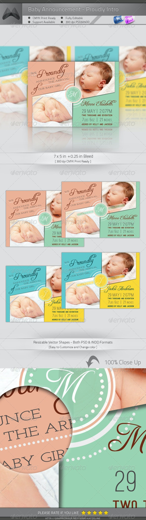 Baby Announcement Card - Proudly Intro - Family Cards & Invites