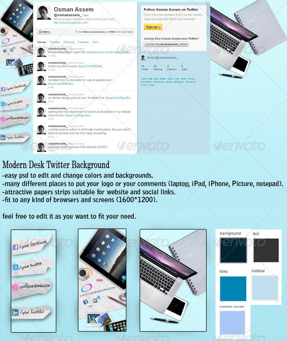 Modern Desk Twitter Background - Twitter Social Media