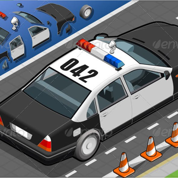 Isometric Police Car in Rear View
