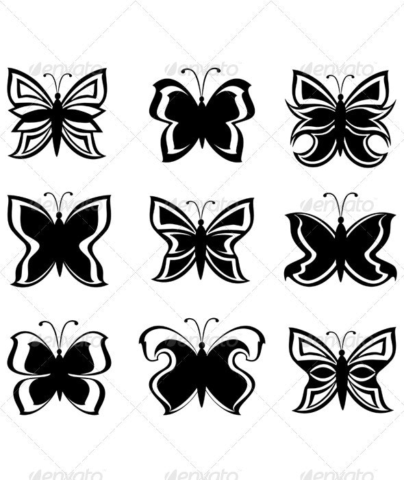 Black and White Butterflies  - Tattoos Vectors