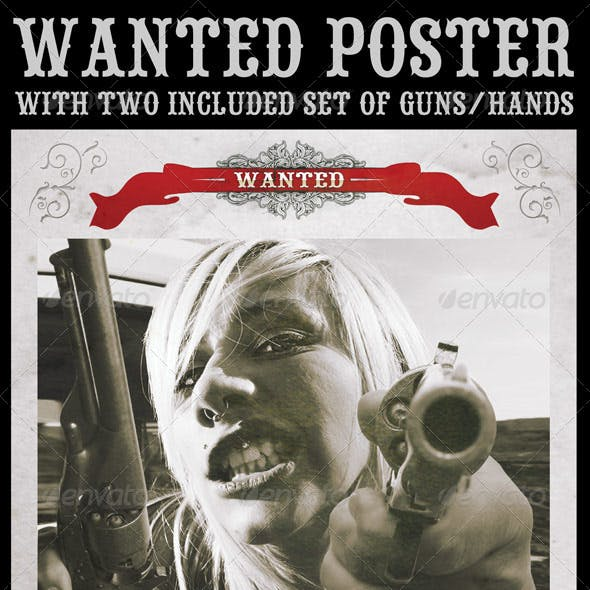 Wanted Poster with Included Guns