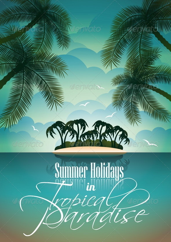 Summer Holiday Flyer Design with Palm Trees - Landscapes Nature