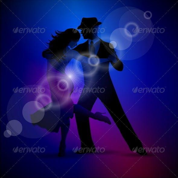 Vector Design with Couple Dancing Tango