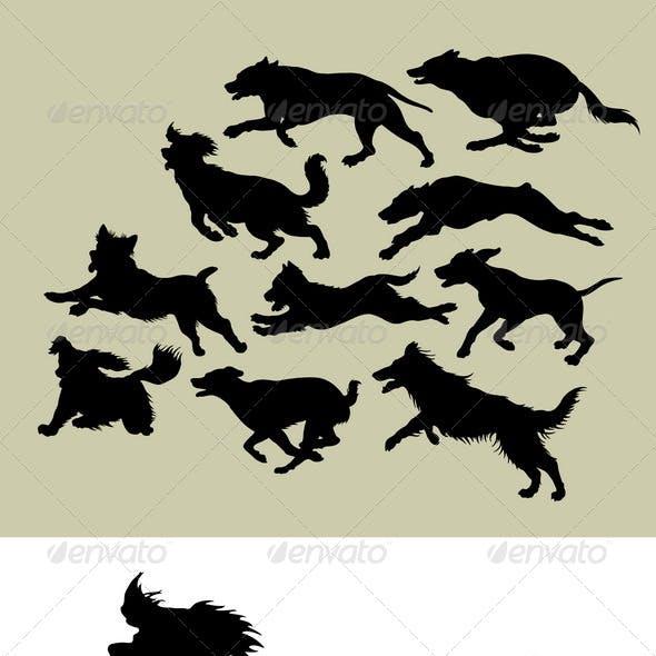 Dog Running Silhouettes