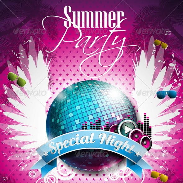 455fca23ae49 Vector Summer Beach Party Flyer Design with Disco