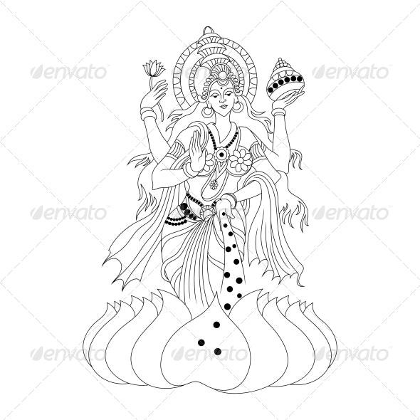 Hindu Goddess Lakshmi or Luxmi Vector Design