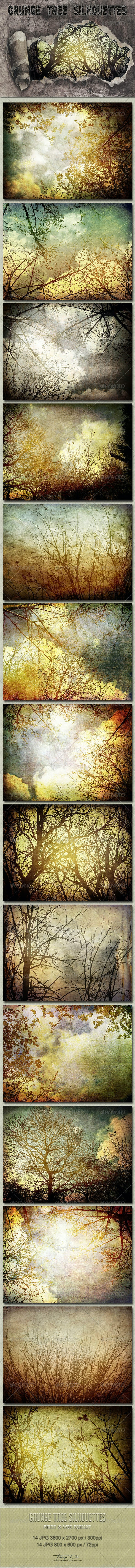 Grunge Tree Silhouettes - Nature Backgrounds