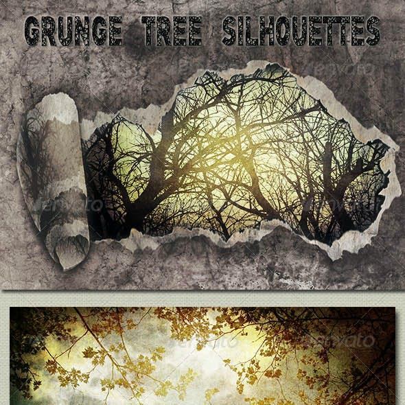 Grunge Tree Silhouettes