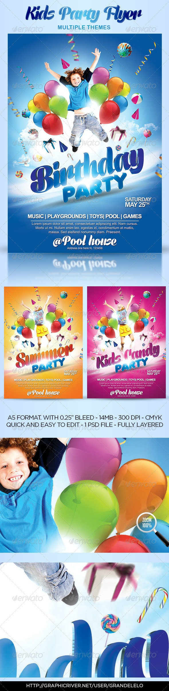 Kids Party Flyer Themes  - Events Flyers