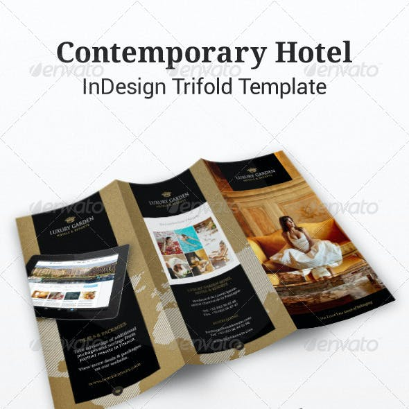 Tri-fold: Contemporary Hotel InDesign Brochure