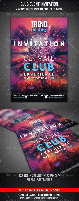 Club Event Invitation - Invitations Cards & Invites