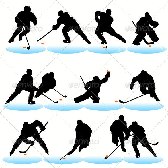 Ice Hockey Players Silhouettes Set - Sports/Activity Conceptual