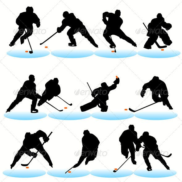 Ice Hockey Players Silhouettes Set