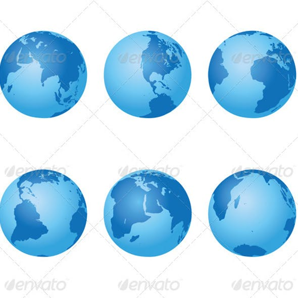 Set - vector blue globes of Earth