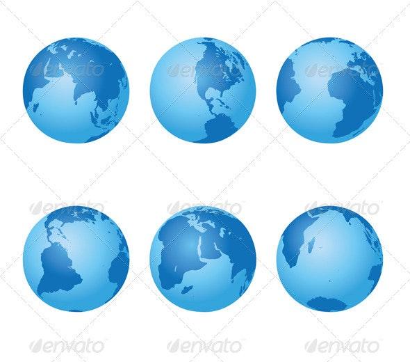 Set - vector blue globes of Earth - Miscellaneous Vectors