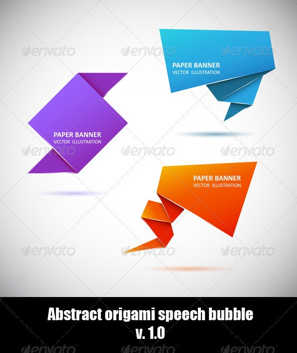 Abstract origami speech bubble. Set 1  - Backgrounds Business