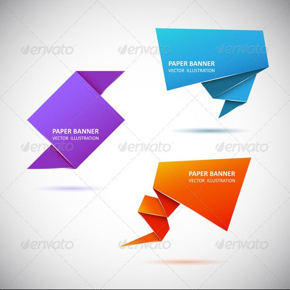 Abstract origami speech bubble. Set 1