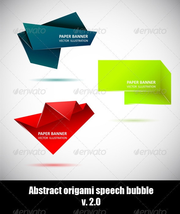 Abstract origami speech bubble. Set 2 - Backgrounds Business