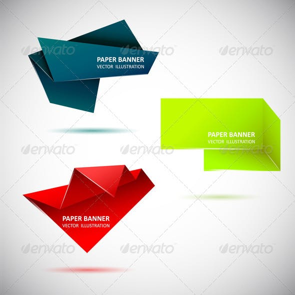 Abstract origami speech bubble. Set 2