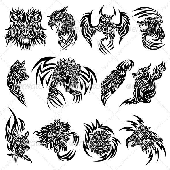 Wild animals tattoo - Tattoos Vectors