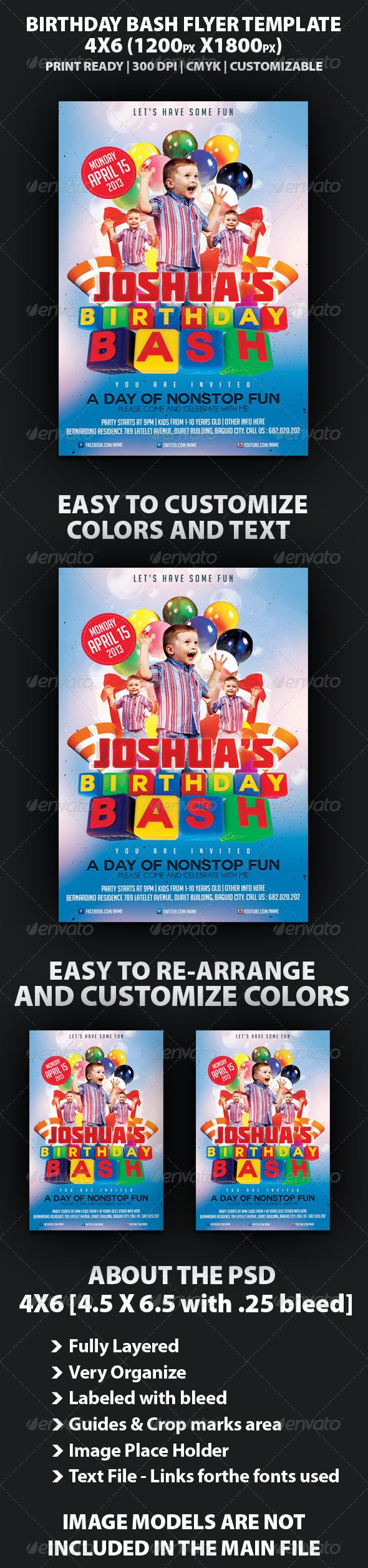 Birthday Bash Party Flyer Template - Clubs & Parties Events