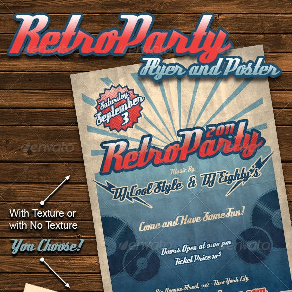 Retro Party Flyer Poster