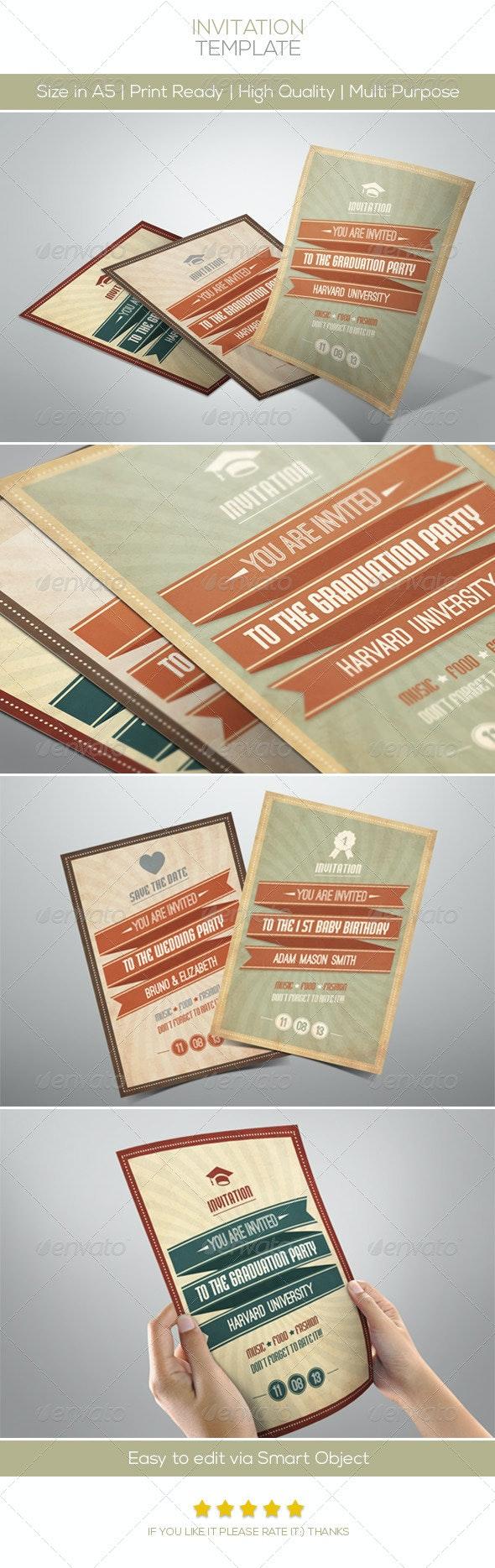 Retro Invitation - Invitations Cards & Invites