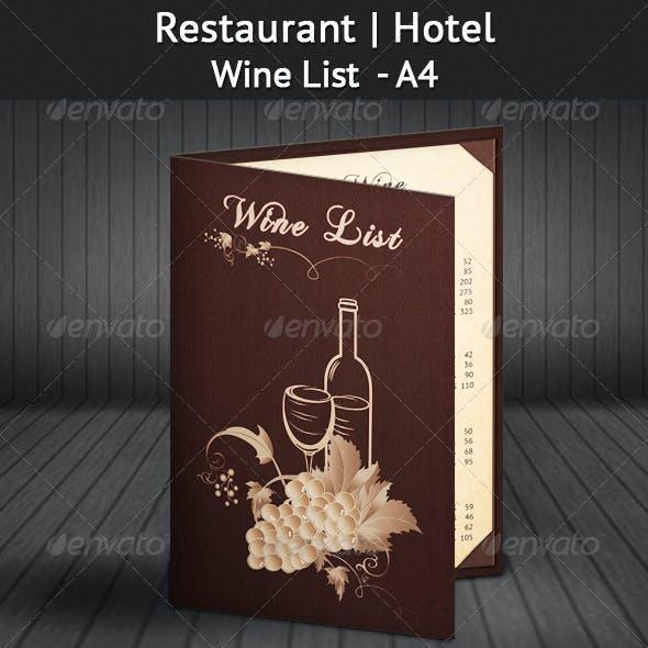Restaurant | Hotel Wine List - A4