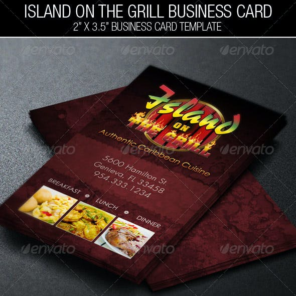 Island Grill Restaurant Business Card Template