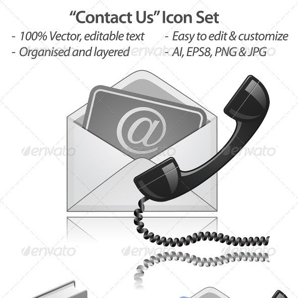 Contact Us Vector Icon Set