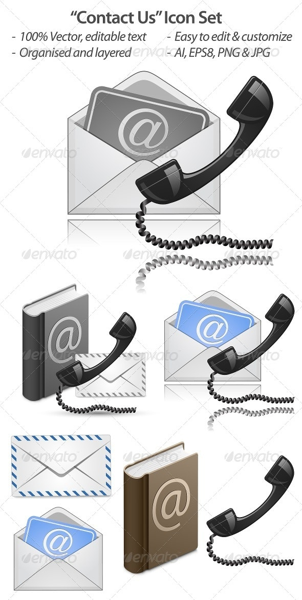 Contact Us Vector Icon Set - Communications Technology
