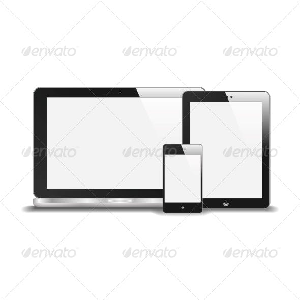 Realistic Notebook, Smart Phone and Tablet PC