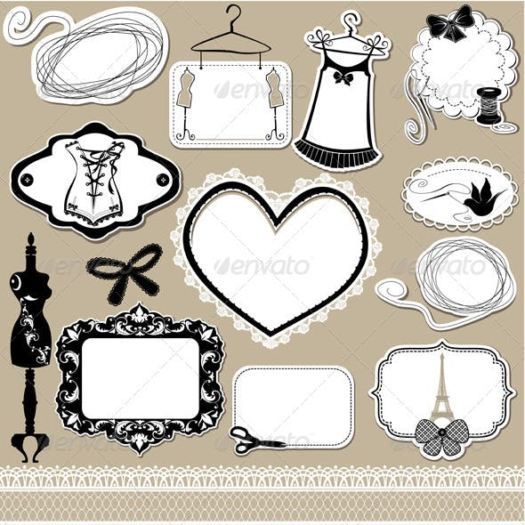 Set of Frames Symbols Tools and Accessories