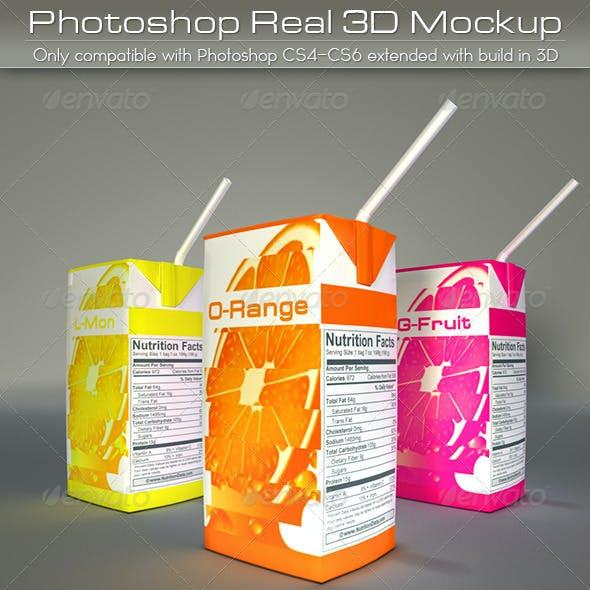 Mini Juice Carton Tetra Pack Mockup
