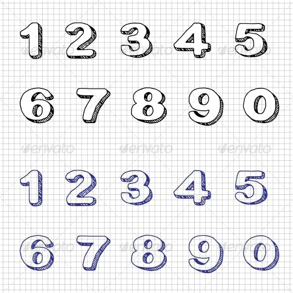 Hand-drawn Numbers Doodles Set 2