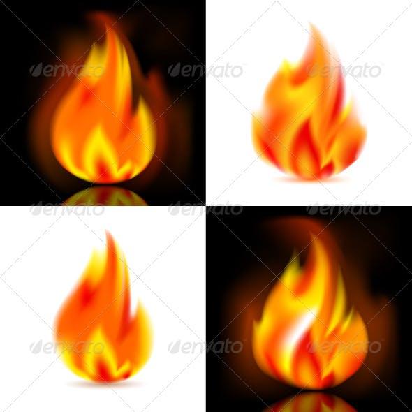 Fire, 4 Vector Flames