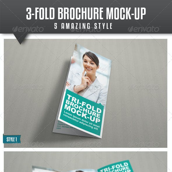 Tri-Fold Brochure Mock-Up Vol.2