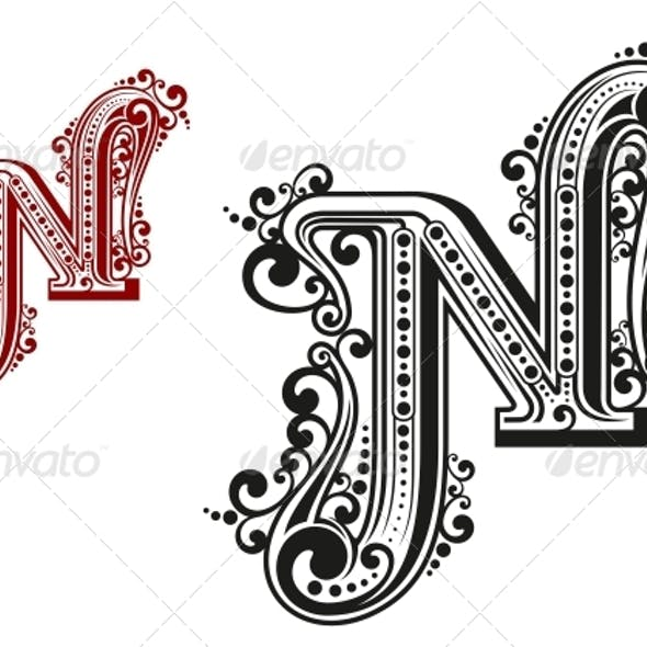 N Letter in Vintage Calligraphic Style