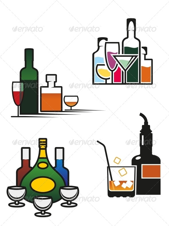 Alcohol Drinks Set - Food Objects