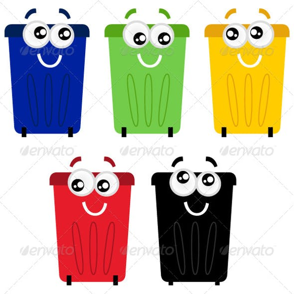Funny Colorful Recycle Bin Mascots