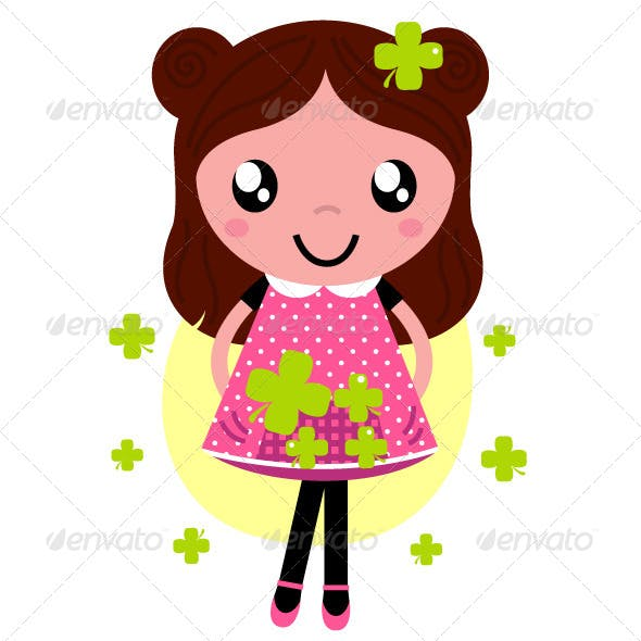Spring Girl with Four Leaf Clovers