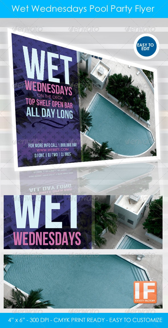 Wet Wednesdays 4x6 Pool Party Flyer - Clubs & Parties Events