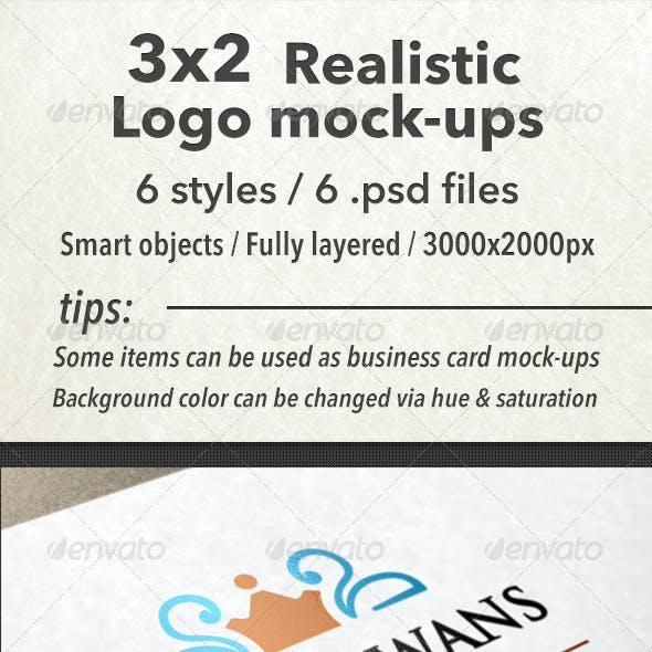 3x2 Realistic Logo Mock-Ups