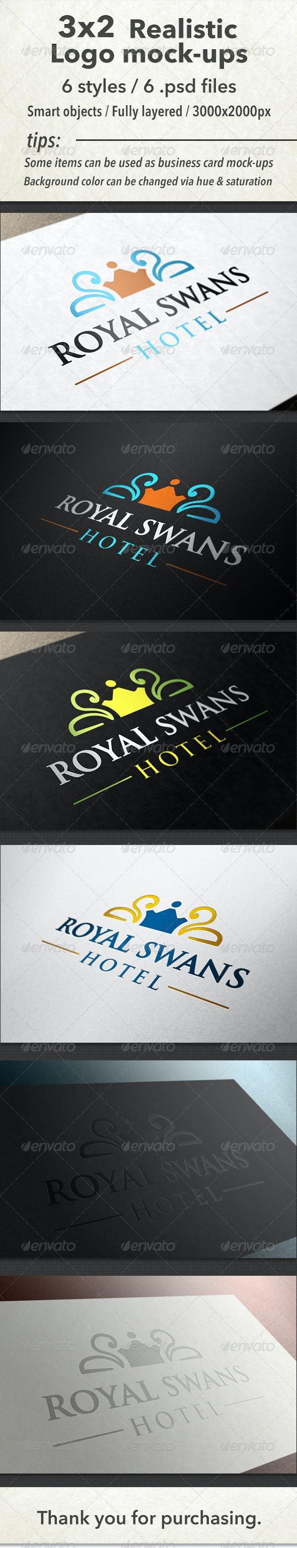 3x2 Realistic Logo Mock-Ups - Logo Product Mock-Ups