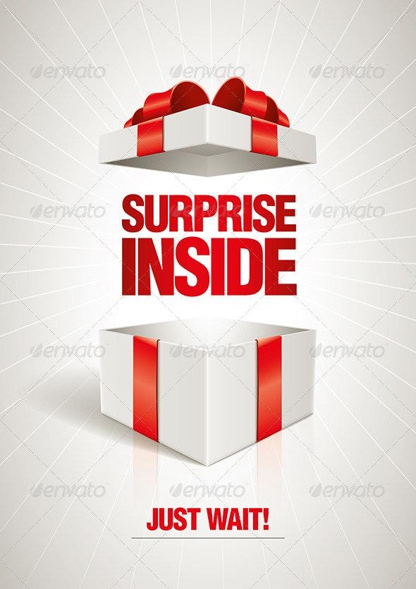 Surprise Inside Gift Box - Miscellaneous Vectors