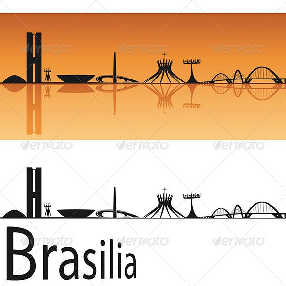Brasilia Skyline in Orange Background