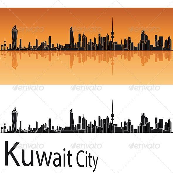 Kuwait City Skyline in Orange Background