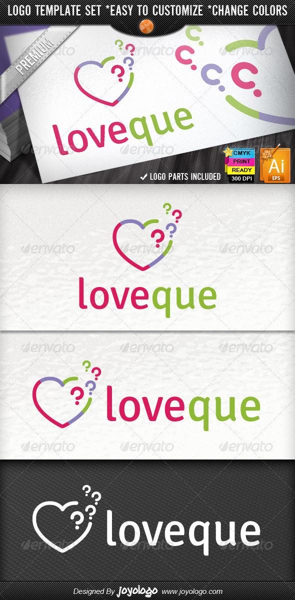 Abstract Pixel Questions Love Heart Logo Template - Symbols Logo Templates