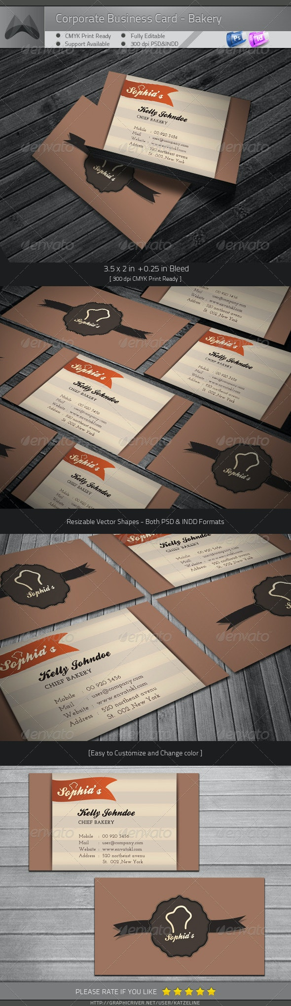 Corporate Business Card - Bakery - Industry Specific Business Cards