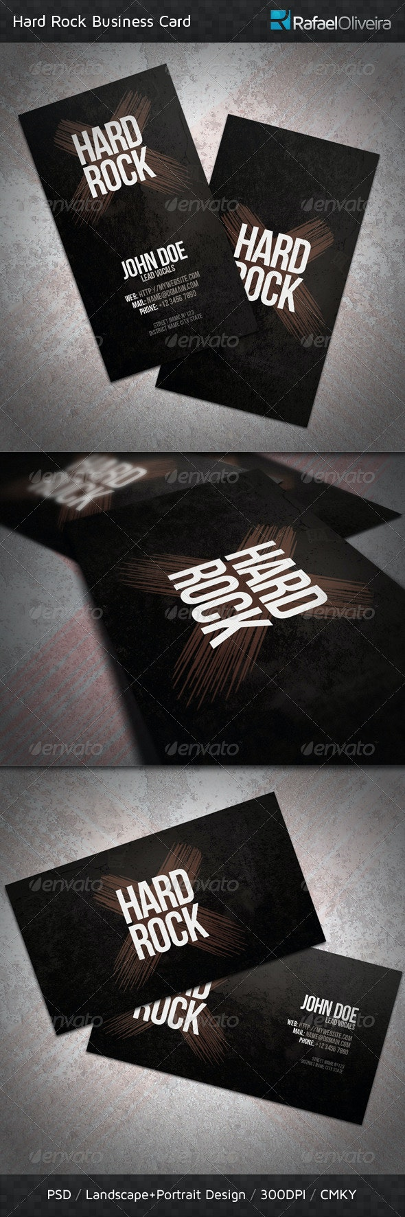 Hard Rock Business Card - Grunge Business Cards